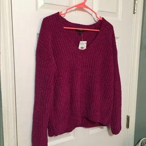 NWT fuchsia chenille sweater